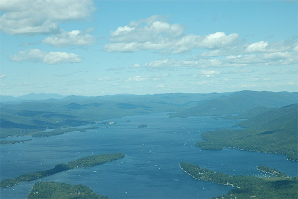 Aerial photo of lake George and Adirondack Mountains