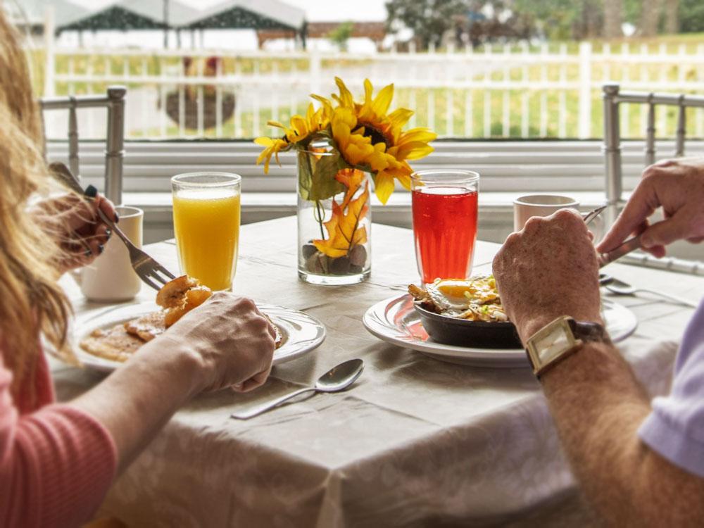 Couple enjoying breakfast at The White Lion