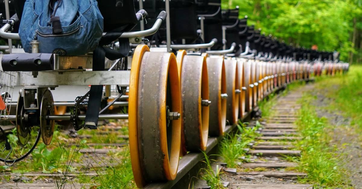 rail biking closeup